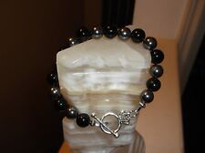 "MEN'S HANDMADE 9"" 10 MM BLACK AGATE & BLACK HEMATITE BEADED BRACELET"