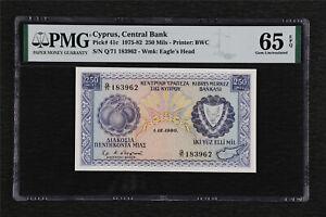 1975-85 Cyprus Central Bank 250 Mils Pick#41c PMG 65 EPQ Gem UNC