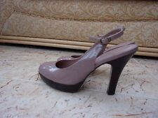 CARAVELA Ladies Beige Patent Leather Slingback Platform Shoes size 3 EU / 3 UK