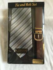 VINTAGE 1970s Sammy GREY STRIPED TIE & BELT SET NEW BOXED