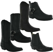 Johnny Bulls Leather Cowboy Western Gusset Harness Ankle Biker Dress Mens Boots