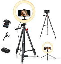"10"" Selfie Ring Light w/ 51"" Tripod Stand & Camera Remote Holder for Live Stream"