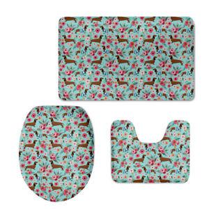 Dachshund Bath Mat Contour Rug Blanket Flannel 3pcs Floral Toilet Cover Decor