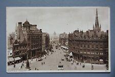 R&L Postcard: Sheffield, Fargate Penny Bank, Shops, Trams Cars
