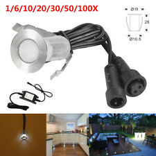19mm 12V 0.4W Cool White Outdoor Garden Path Recessed LED Deck Stairs Lights Set