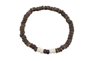 "Coconut Shell Bracelet - 7"", Dark Brown & Beige Coconut (Thin), Hawaiian Surfer"