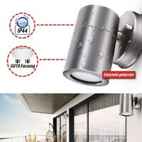 LED Außenleuchte Wandleuchte IP44 Wandlampe Garten Strahler Bad GU10 Edelstahl