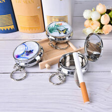 Creative Round Cigarette Keychain Portable Stainless Steel Pocket Ashtray