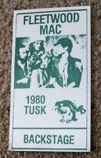 Vintage Fleetwood Mac 1980 Tusk concert Backstage pass unused