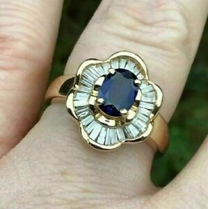 BOTANICAL FLORAL ENGAGEMENT HALO RING 14K YELLOW GOLD PLATED 1.7 CT SAPPHIRE