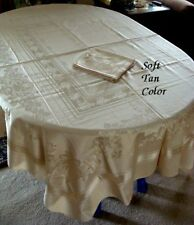 "Top Quality Unused Vtg Mercerized Damask Tablecloth 90"" 8 Nap Roses Tan Color"