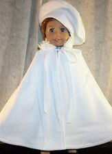"Doll Clothes Made 2 Fit American Girl 18"" White Fleece Cape Fluff Collar Beret'"