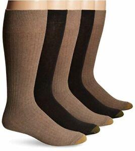 Gold Toe Men's Texture Assorted Crew 5 Pack,, Khaki/Brown, Size 10.0 wVDk