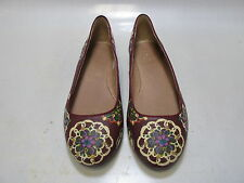 FOSSIL BRAND Womens Purple Floral Leather  Ballet Flats Size 8 (FFW4283606)