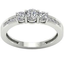 Three Stone Ring SI1 G 1.0 Carat Natural Diamond 14K White Yellow Rose Gold