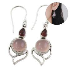 Moonstone Earrings Multi-Gemstone Ear Stud Garnet Ruby Chalcedony Opal Stone