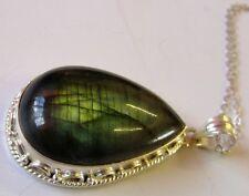 Handmade Chunky Labradorite Gemstone Sterling Silver Pendant Necklace Chain