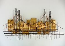 Vintage Metal Abstract Suspension Bridge Sculpture 3D Artist Signed Charles 1973