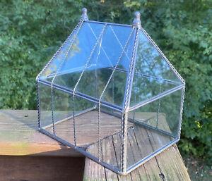 Vintage Large Glass Terrarium House Shaped Farmhouse Garden Décor