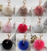 NEW Soft Faux Rabbit Fur Ball Pompom Bag Charm Keyring Pendant Keychain Xmas!