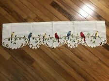 Embroidered Colored Spring Birds On Branch Window Valance Nature Leaves Valance