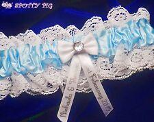 Personalised Wedding Bridal Garter Something Blue, Handmade Lingerie Crystal Hen