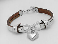 "New 7"" Stylish Silver Tone Infinity Love Heart Leather Bracelet Toggle Clasp"