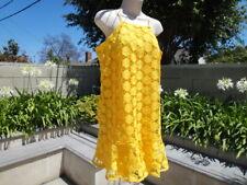 TRINA by Trina Turk RIO HAVANA LOCO Crochet Dress, Bright Yellow Lined Size L