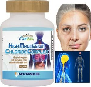 HIGH Cloruro de magnesium Magnesium Chloride High absorption 140 caps & OXIDE