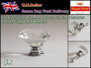 8 x Clear Crystal Diamond Glass Cabinet Drawer Closet Cupboard Handle