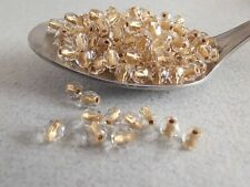 Czech fire polished small glass beads gold lined 4 mm pack of 100
