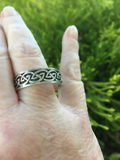 NEW Large Size Stirling Silver Ring Tribal Pattern - Size Z+