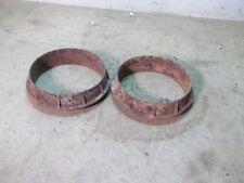 2 Old Odd Cast Iron Wooden Wagon Wheel Hub Rings from Kansas Prairies