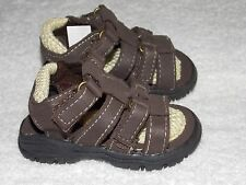 Run Brown Open Toes Sides Fastening Velcro Boy SANDALS Size 1 New NWOT