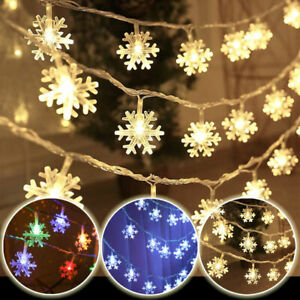 LED Snowflake Fairy String Lights Outdoor Christmas Party Hanging Xmas Tree Lamp