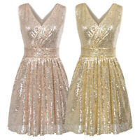 Kate Kasin Womens V-Neck Sequined Ball Gown Evening Prom Party Mini Short Dress