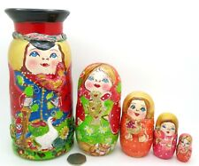 Russian nesting dolls Boy & Chicken Pyrography MATT Babushka 5 Mamayeva signed
