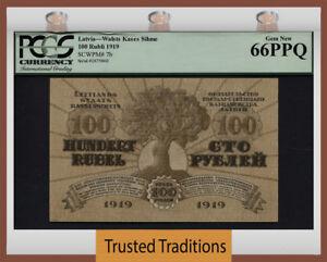 "TT PK 7b 1919 LATVIA 100 RUBLI ""98 YRS OLD"" PCGS 66 PPQ GEM NEW POP 3 NONE FINER"
