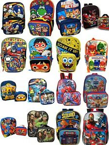 """Little Boys 16"""" Cartoon Book Bag Backpack With Lunch box - 2 Piece Set"""
