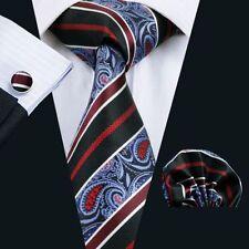 Blau Schwarz Rot Paisley Seide Krawatte Set Einstecktuch Knöpfe Hochzeit K393