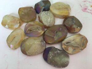 Quartz Flatback Cabochon Purple/bronze Druzy Unusual shapes Rare CRAFT Pack of 5
