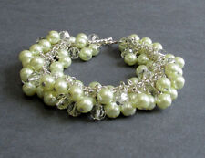 Cream Glass Pearl, Silver, Crystal, Cluster Charm Bracelet, Toggle, 6.25 inches