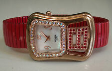 Designer Style stretchy Red/Rose Gold finish with stone Fashion watch