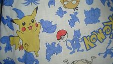VINTAGE 90s NINTENDO POKEMON Dragons Pikachu Twin FITTED Fabric Sheet Sheets