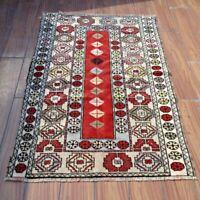 Vintage Turkish Oriental Kilim Rug 3x4 Handmade Geometric Bohemian Wool Area Rug