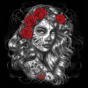 Day Of The Dead Girl Roses Lady Sugar Skull Dia De Los Muertes T-Shirt Tee
