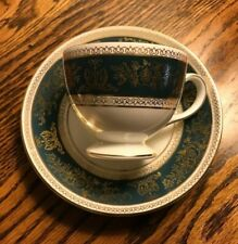Wedgwood Columbia Blue and Gold Cup Saucer Leigh Shape Teacup England R4509