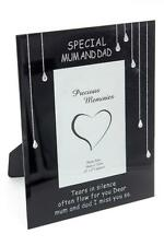 Special Mum and Dad teardrop memorial remembrance glass frame DF17691F