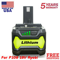 4.0AH 18V For Ryobi One+ Plus P108 Lithium HP Battery P104 P105 P102 P103 P107