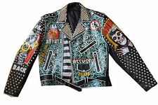 Leather Studded Punk Jacket - Men's Medium / Large 44 - Misfits DOA RKL Dr Know